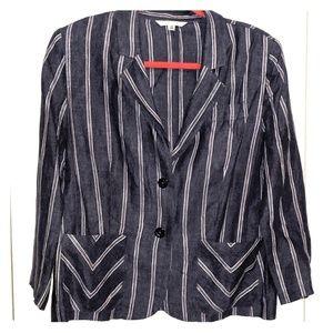 Cabi jacket 3/4 sleeve pinstripe lightweight denim